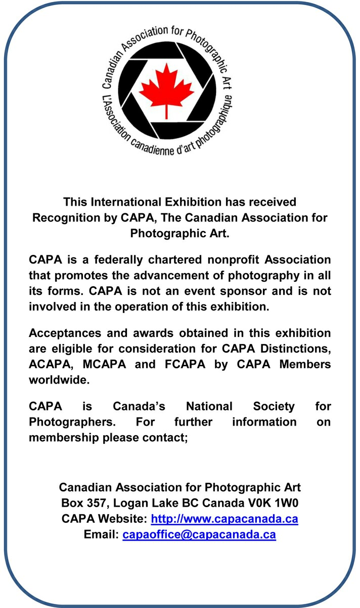 Recognized by the Candian Association for Photographic Art