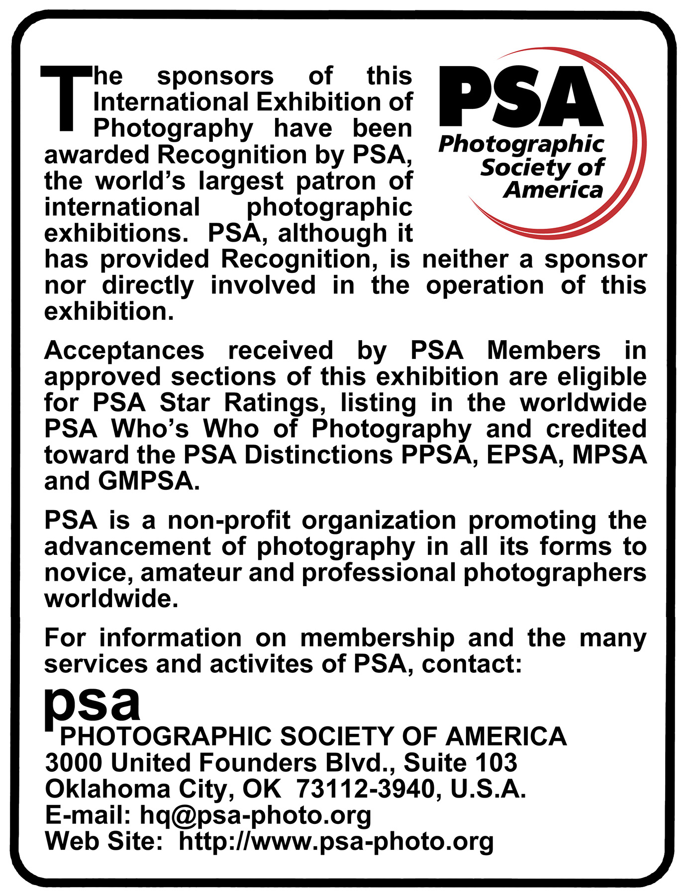 Recognized by PSA Photographic Society of America