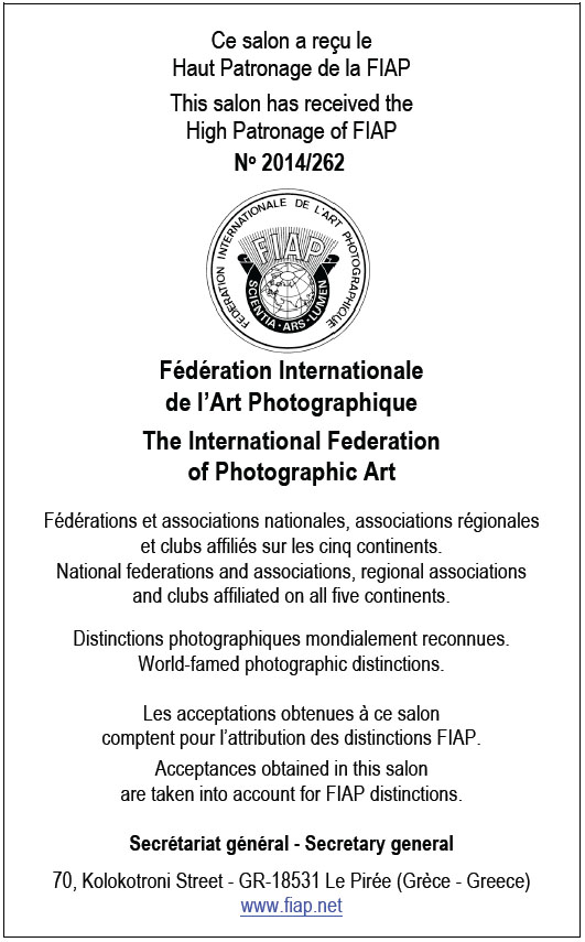 Recognized by FIAP Federation Internationale De L'Art Photographique, 2014/262
